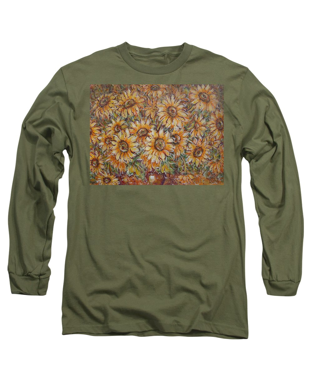 Flowers Long Sleeve T-Shirt featuring the painting Sunlight Bouquet. by Natalie Holland