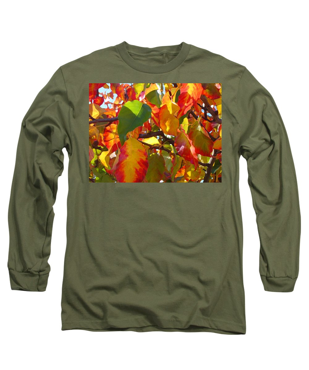 Fall Leaves Long Sleeve T-Shirt featuring the photograph Sunlit Fall Leaves by Amy Vangsgard