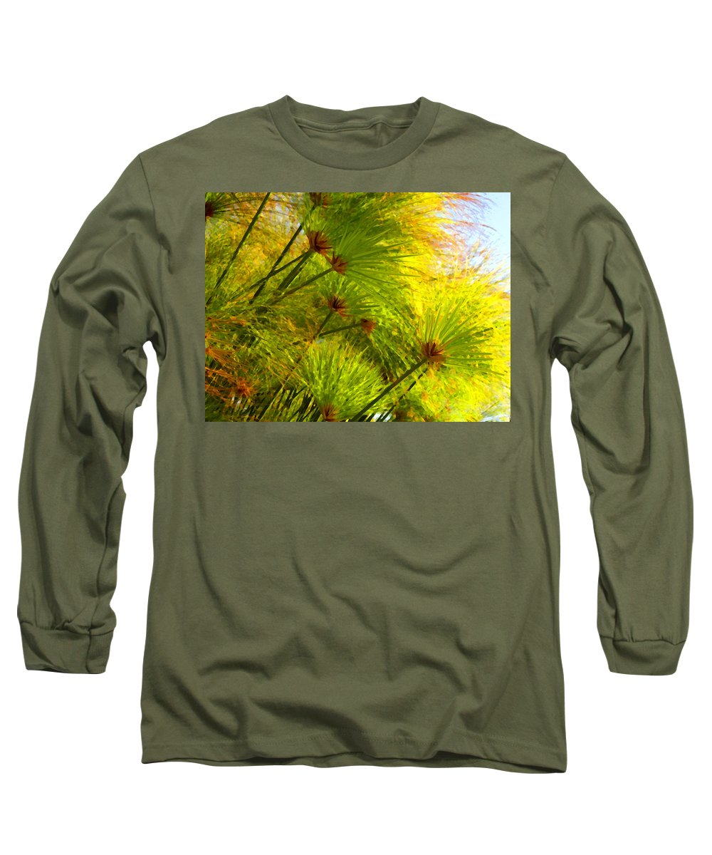 Landscape Long Sleeve T-Shirt featuring the painting Sunlit Paparus by Amy Vangsgard