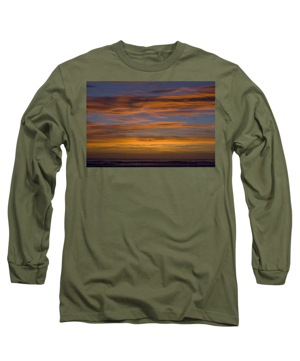 Sun Sunrise Cloud Clouds Morning Early Bright Orange Bird Flight Fly Flying Blue Ocean Water Waves Long Sleeve T-Shirt featuring the photograph Sunrise by Andrei Shliakhau