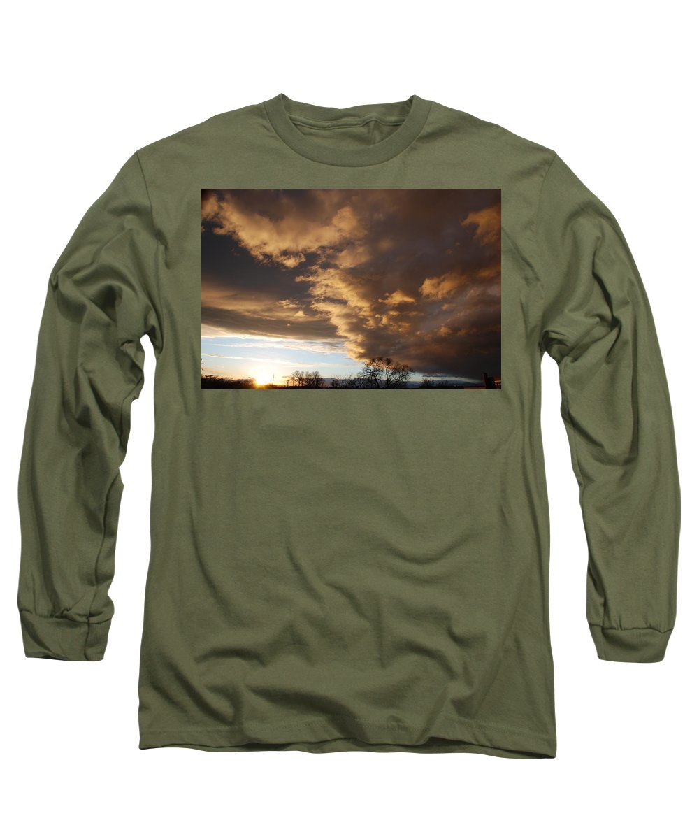 Sunset Long Sleeve T-Shirt featuring the photograph Sunset At The New Mexico State Capital by Rob Hans