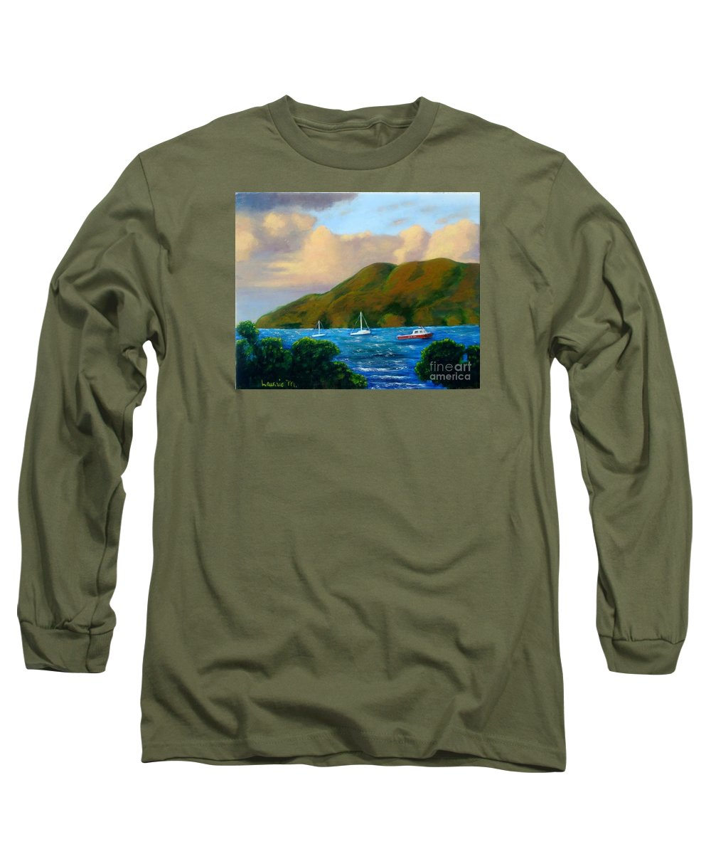 Sunset Long Sleeve T-Shirt featuring the painting Sunset On Cruz Bay by Laurie Morgan