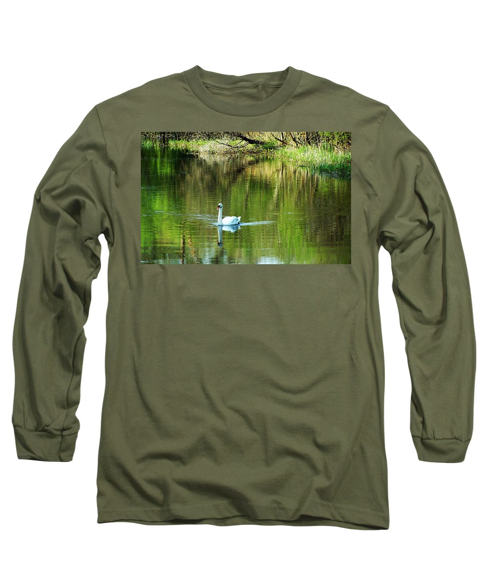 Irish Long Sleeve T-Shirt featuring the photograph Swan On The Cong River Cong Ireland by Teresa Mucha