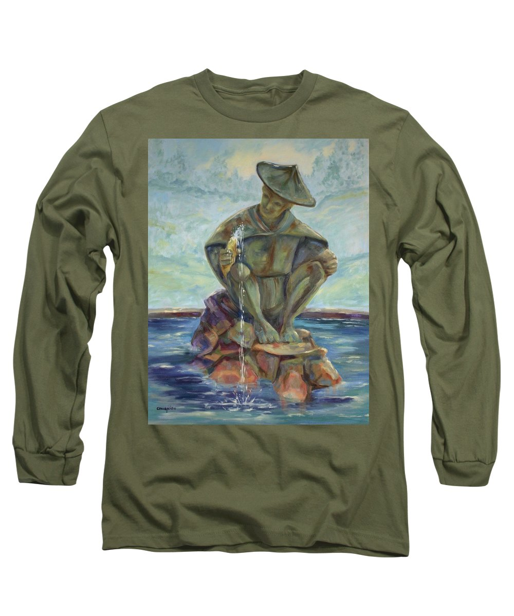Landscape Long Sleeve T-Shirt featuring the painting Taipei Fountain by Ginger Concepcion