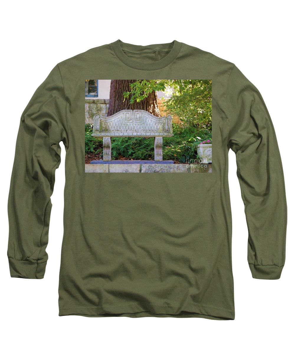 Bench Long Sleeve T-Shirt featuring the photograph Take A Break by Debbi Granruth