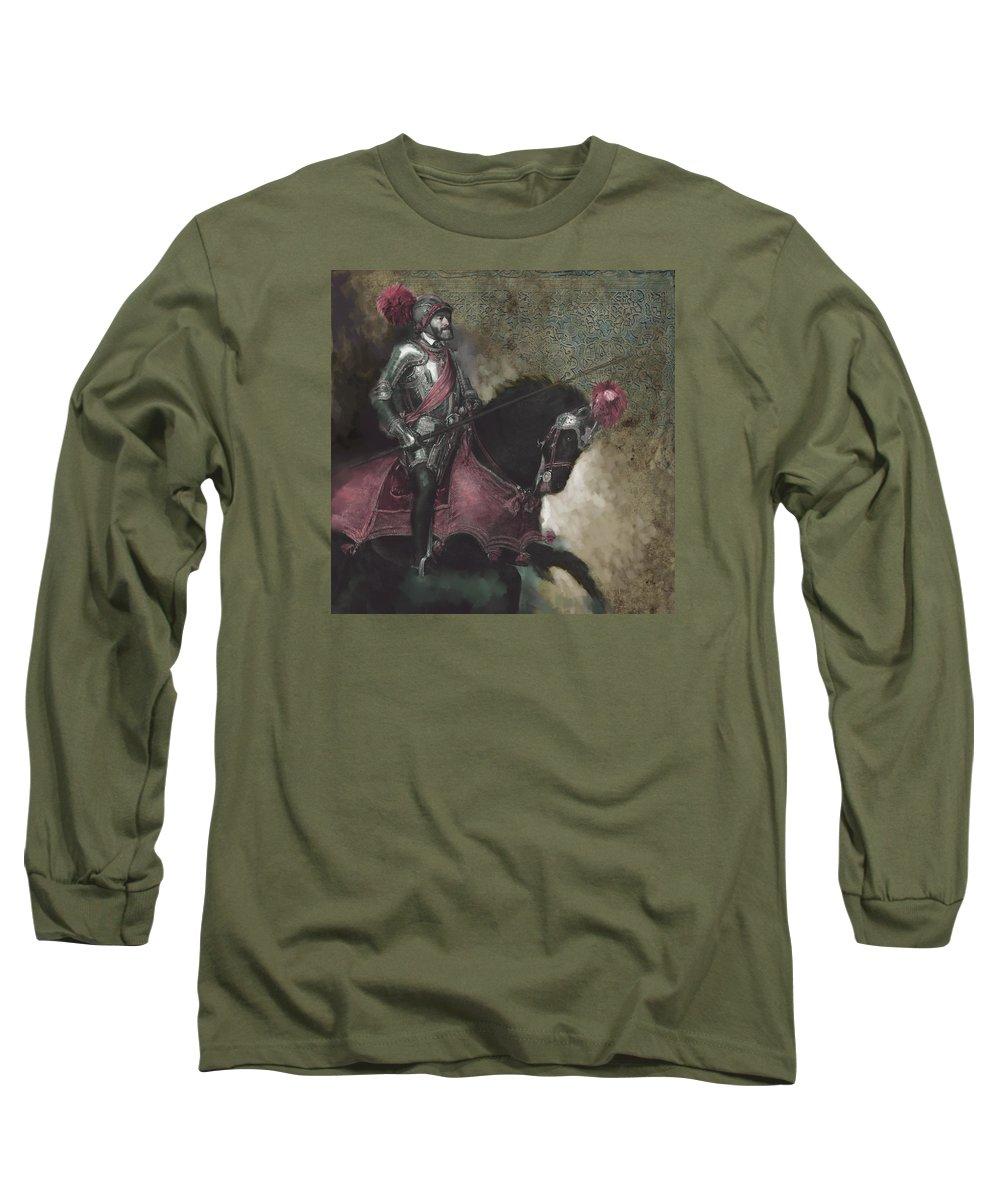 Spanish Long Sleeve T-Shirt featuring the painting Tcm Spanish 161 3 by Mawra Tahreem