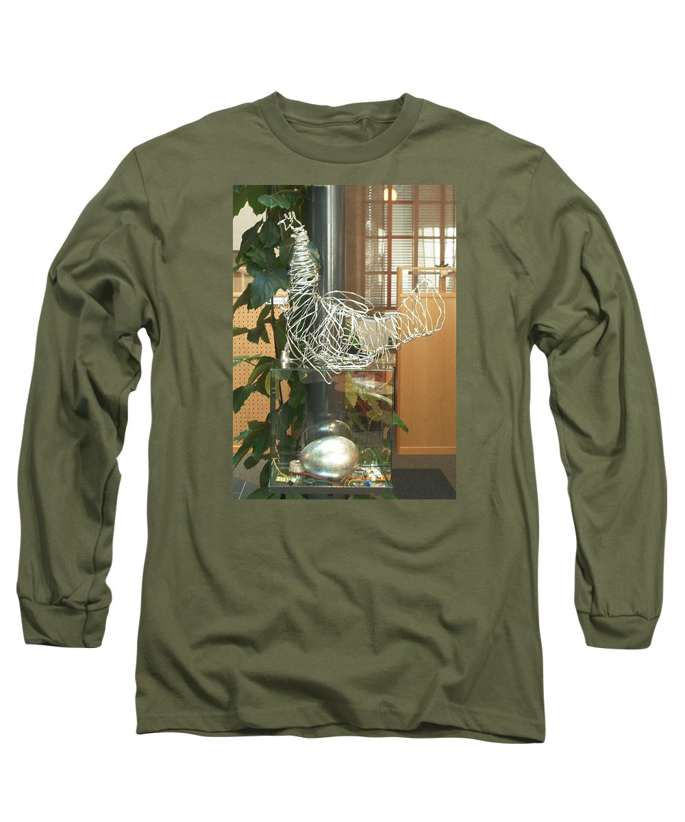 Long Sleeve T-Shirt featuring the sculpture Techno Hen by Jarle Rosseland