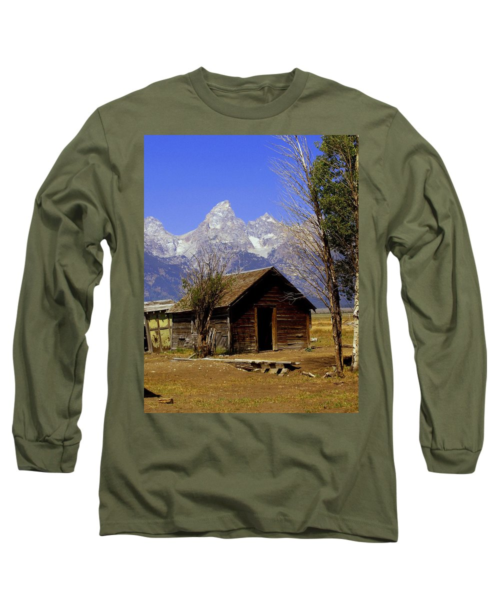 Grand Teton National Park Long Sleeve T-Shirt featuring the photograph Teton Cabin by Marty Koch