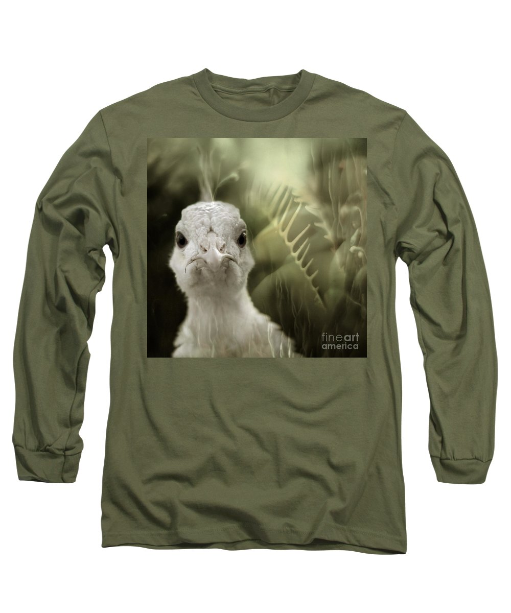 Peacock Long Sleeve T-Shirt featuring the photograph Th White Peacock by Angel Tarantella