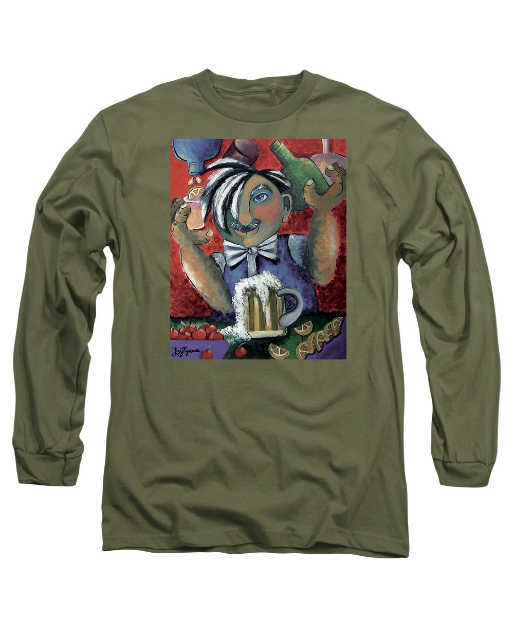 Bartender Long Sleeve T-Shirt featuring the painting The Bartender by Elizabeth Lisy Figueroa