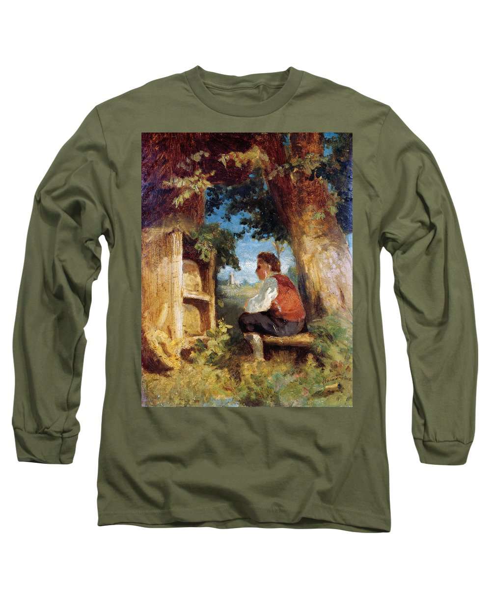 Hans Thoma Long Sleeve T-Shirt featuring the painting The Bee Friend by Hans Thoma
