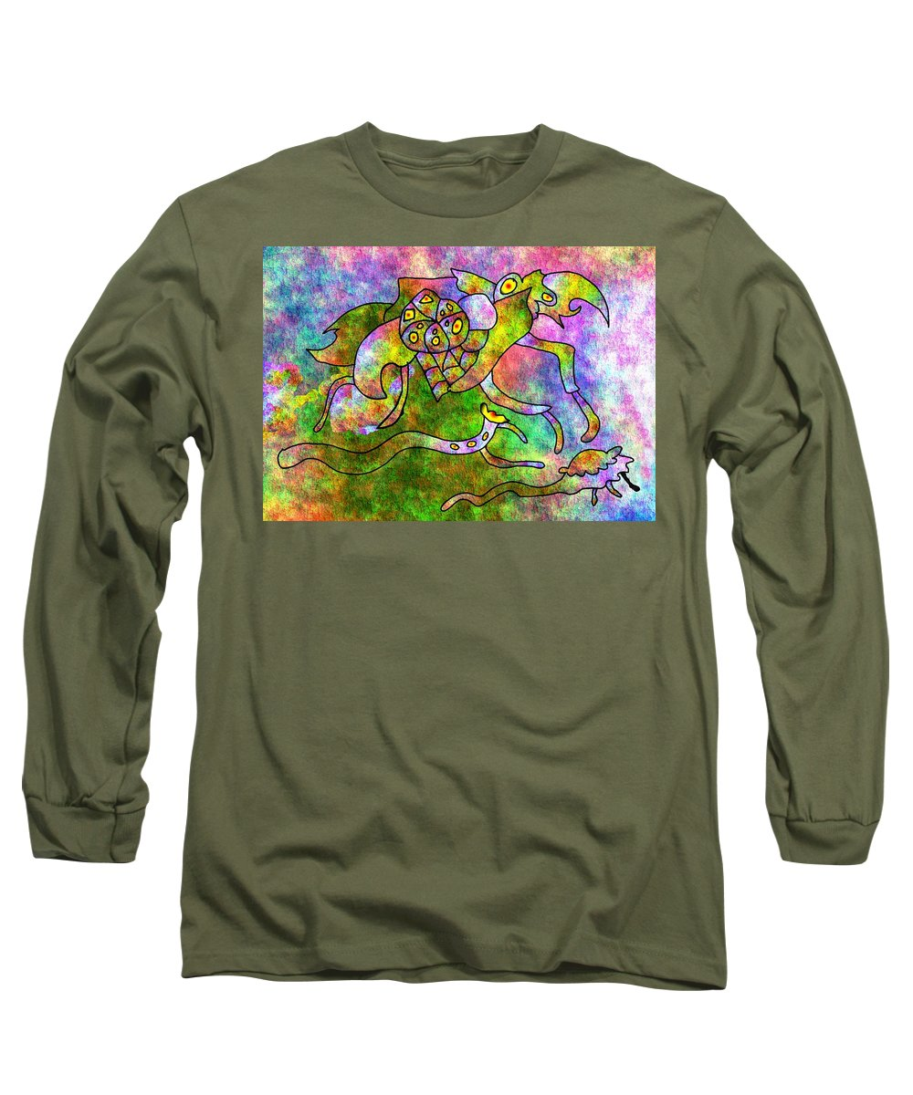 Bugs Color Texture Abstract Fun Long Sleeve T-Shirt featuring the digital art The Bugs by Veronica Jackson