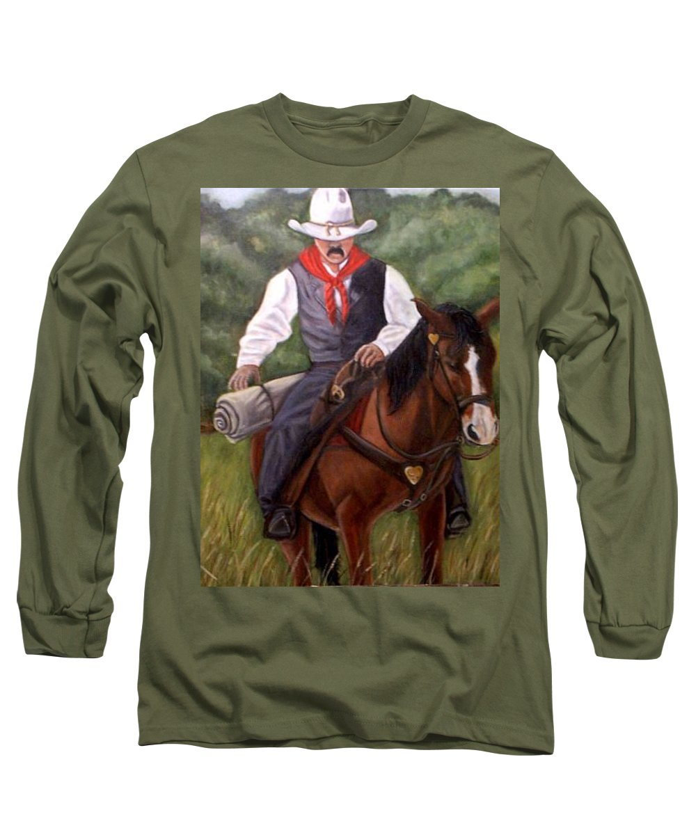Portrait Long Sleeve T-Shirt featuring the painting The Cowboy by Toni Berry