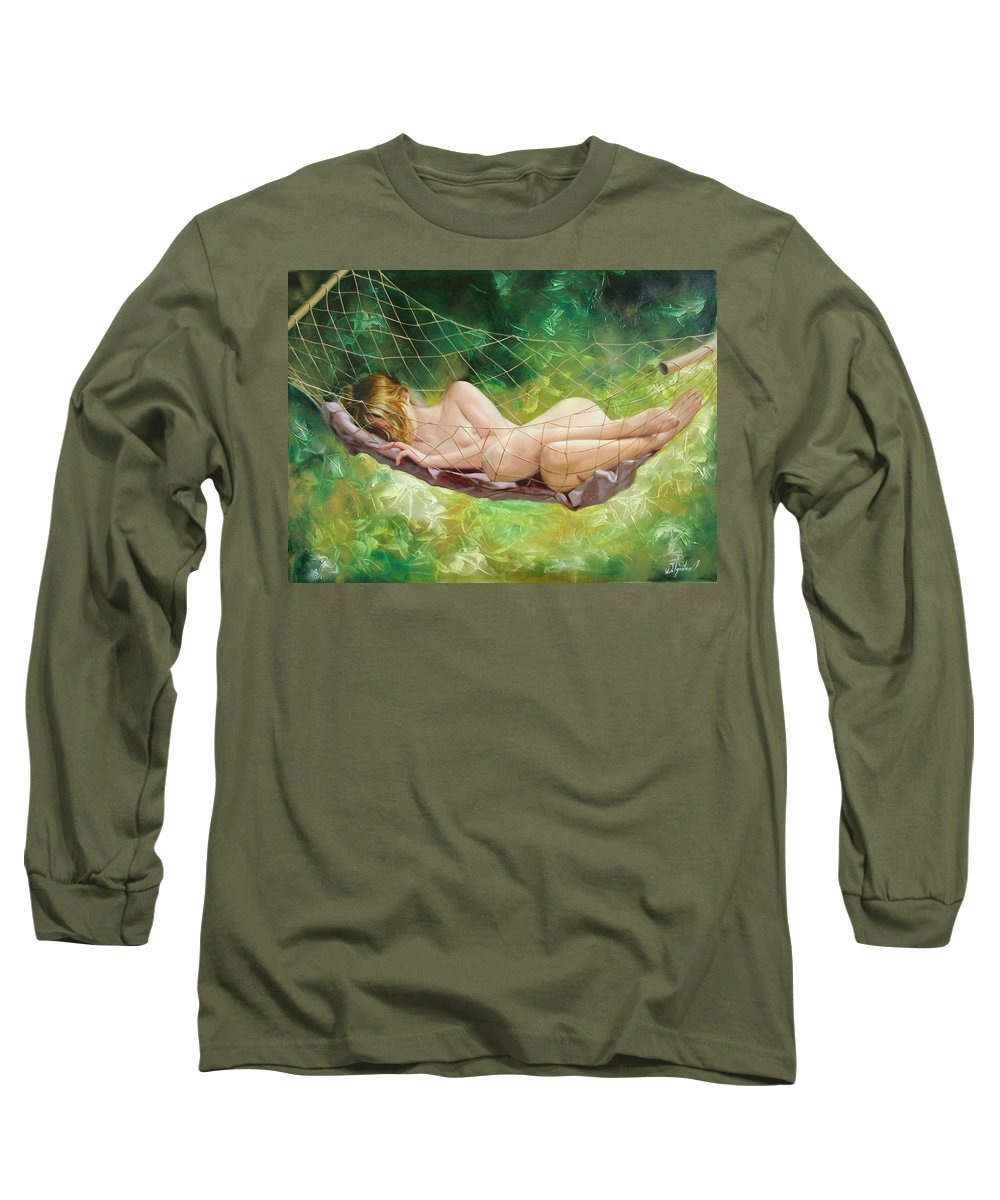 Oil Long Sleeve T-Shirt featuring the painting The Dream In Summer Garden by Sergey Ignatenko