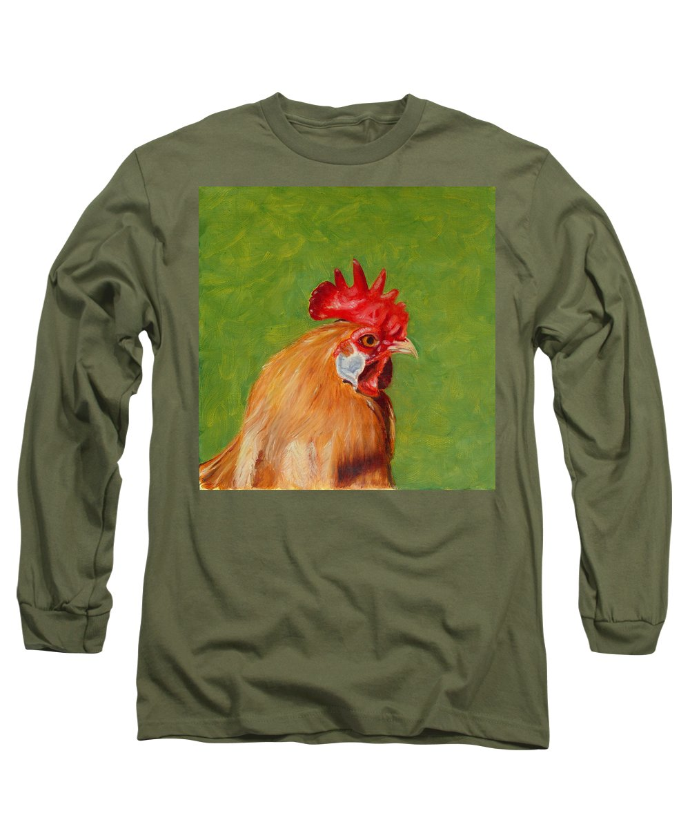 Rooster Long Sleeve T-Shirt featuring the painting The Gladiator by Paula Emery