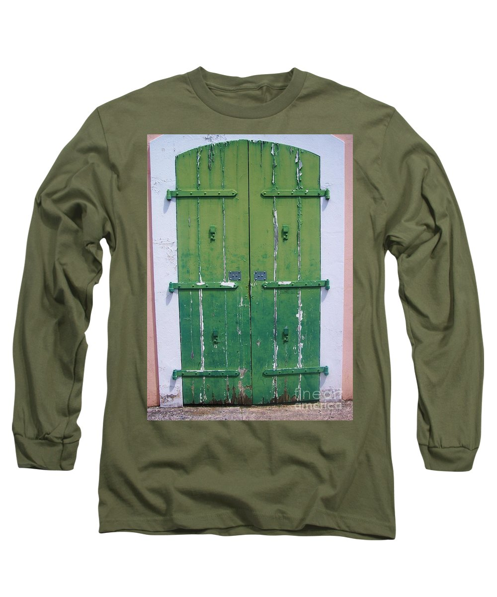 Architecture Long Sleeve T-Shirt featuring the photograph The Green Door by Debbi Granruth