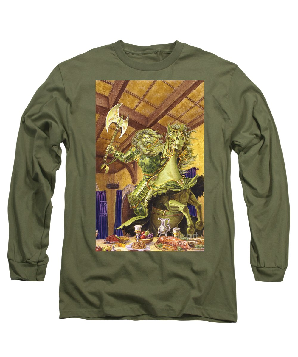 Fine Art Long Sleeve T-Shirt featuring the painting The Green Knight by Melissa A Benson