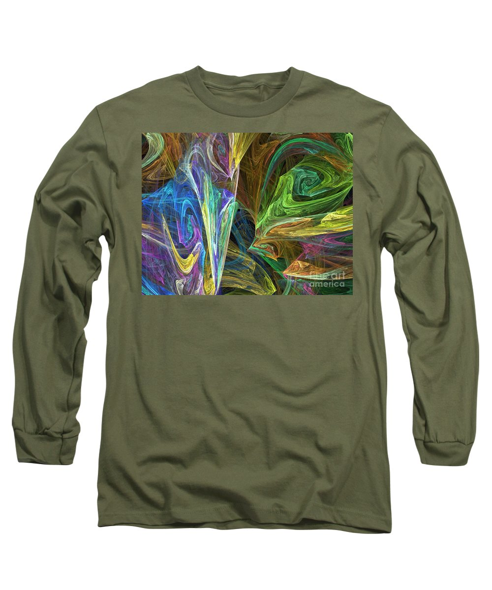 Fractals Long Sleeve T-Shirt featuring the digital art The Groove by Richard Rizzo