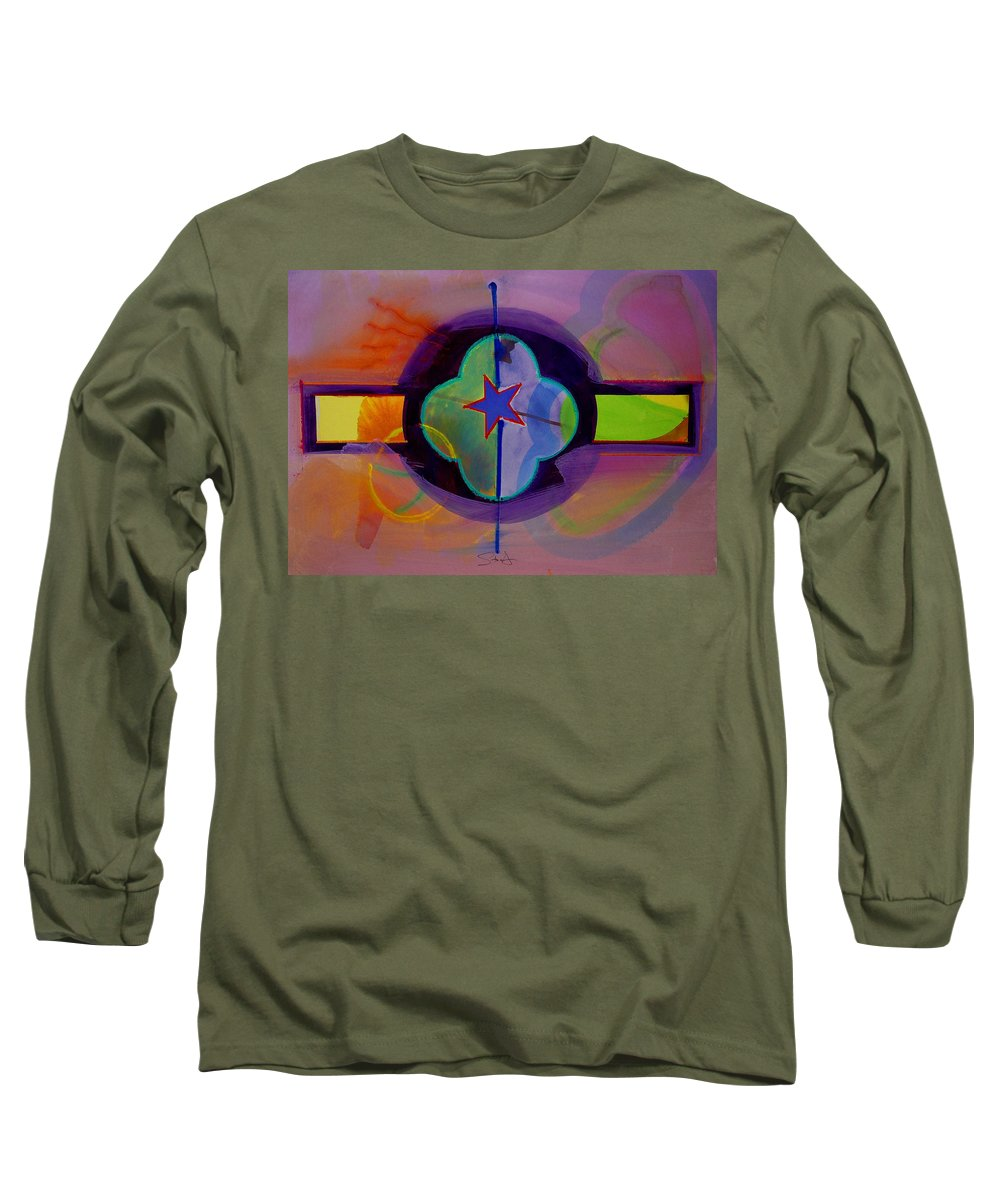Star Long Sleeve T-Shirt featuring the painting The Happy American by Charles Stuart