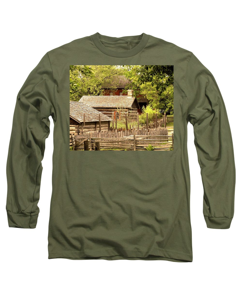 Log Cabins Long Sleeve T-Shirt featuring the photograph The Homestead by Ian MacDonald