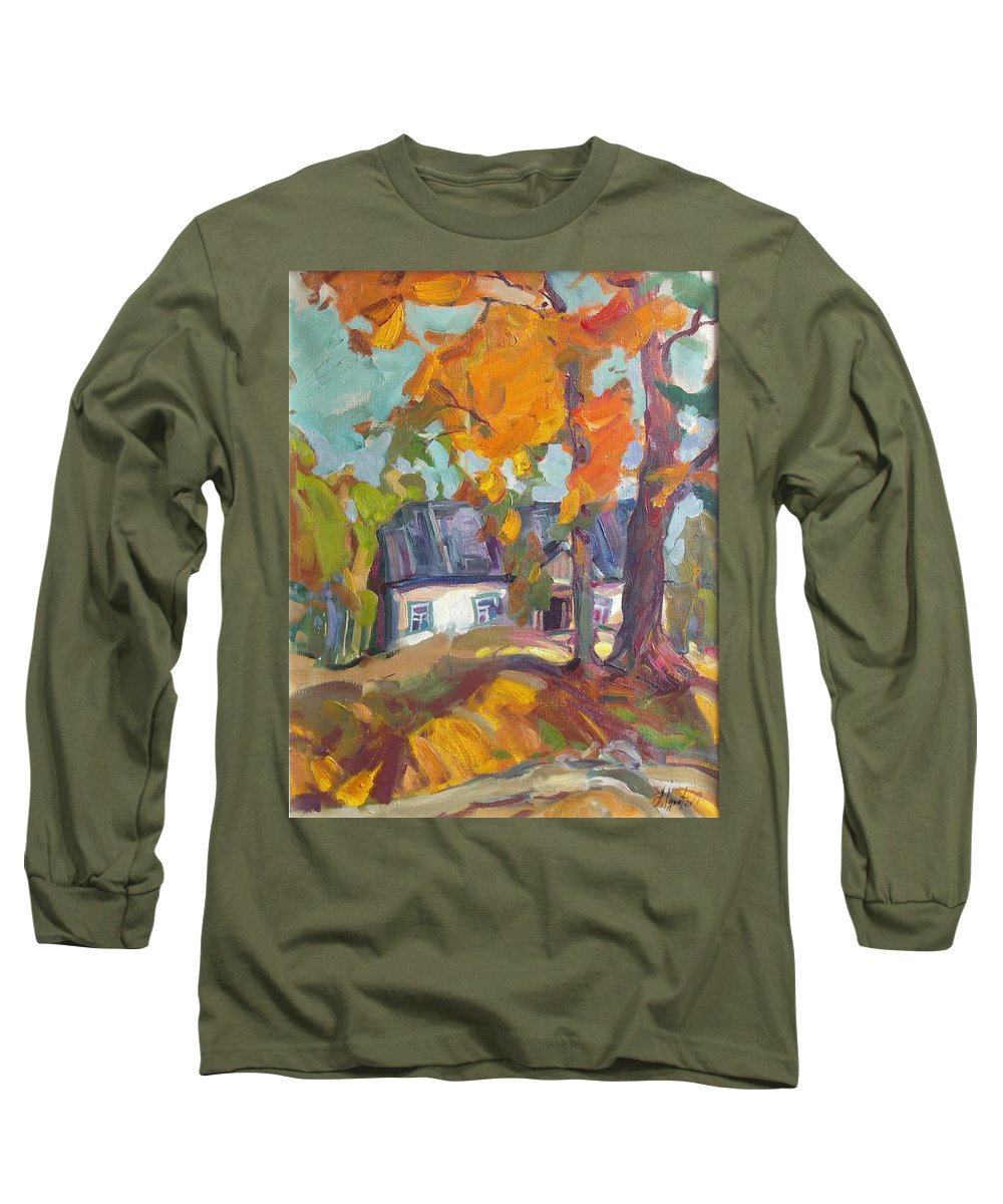 Oil Long Sleeve T-Shirt featuring the painting The House In Chervonka Village by Sergey Ignatenko