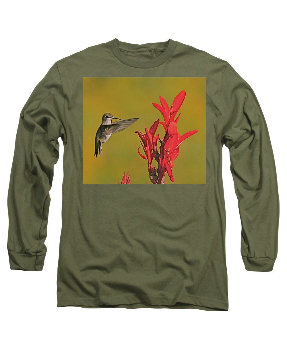 Humming Bird Long Sleeve T-Shirt featuring the photograph The Hummer by Robert Pearson