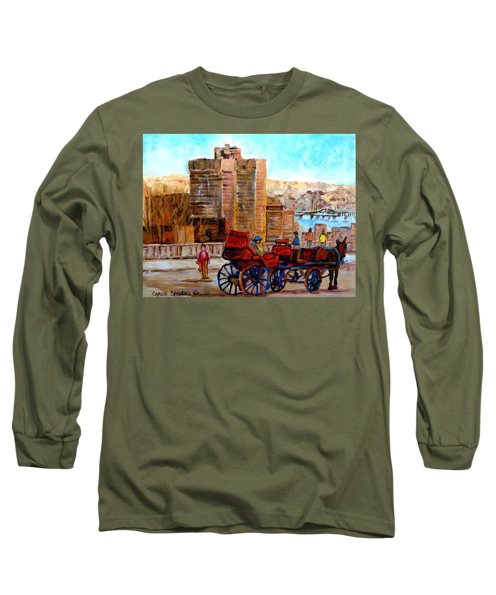 Montreal Street Scene Long Sleeve T-Shirt featuring the painting The Lookout On Mount Royal Montreal by Carole Spandau