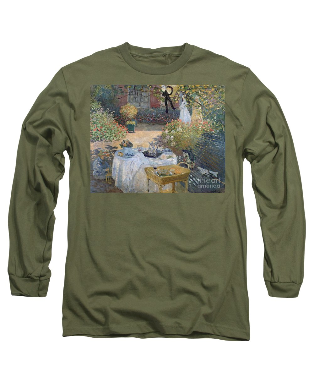 The Luncheon: Monet's Garden At Argenteuil Long Sleeve T-Shirt featuring the painting The Luncheon by Claude Monet