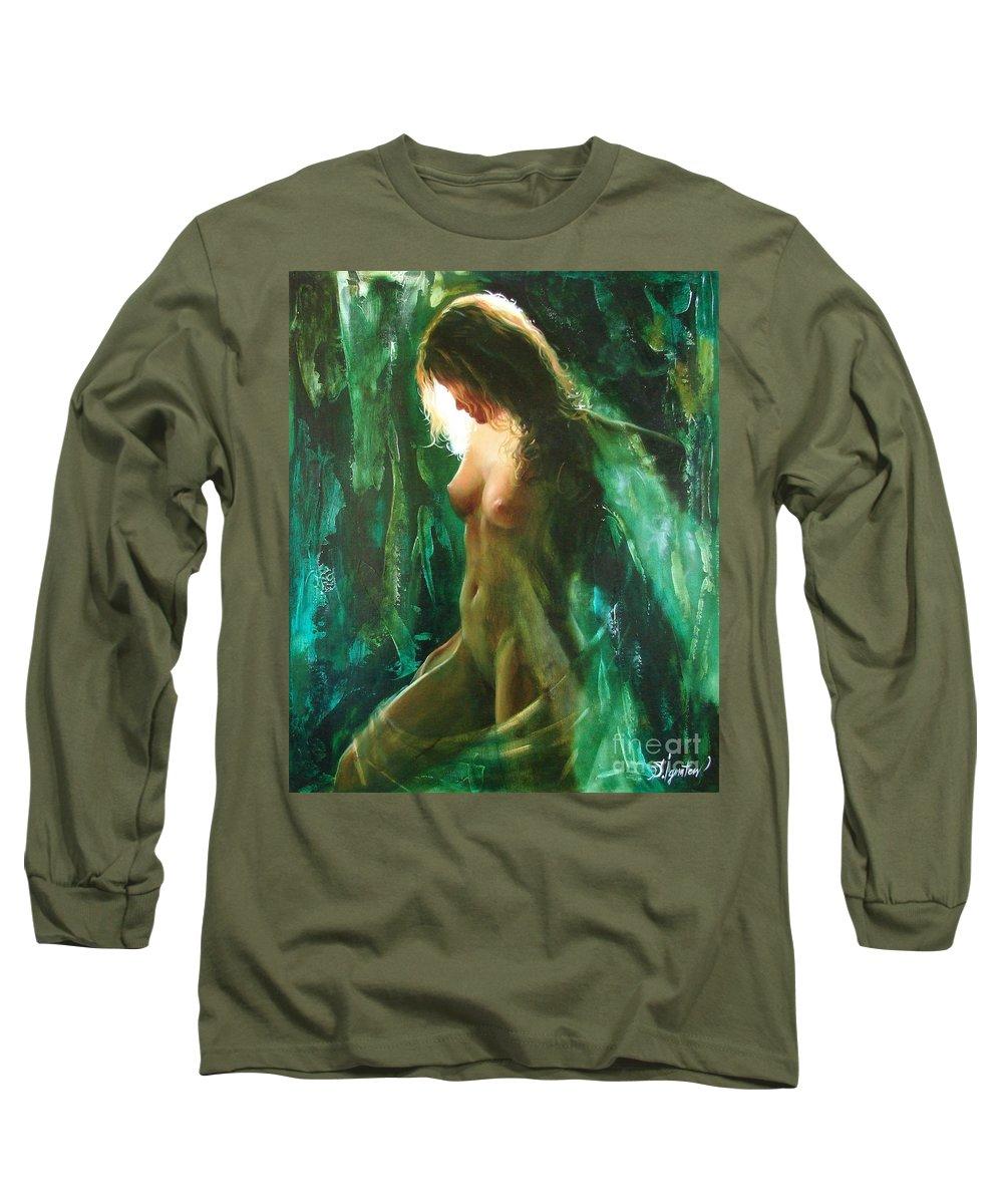 Art Long Sleeve T-Shirt featuring the painting The Malachite Light by Sergey Ignatenko