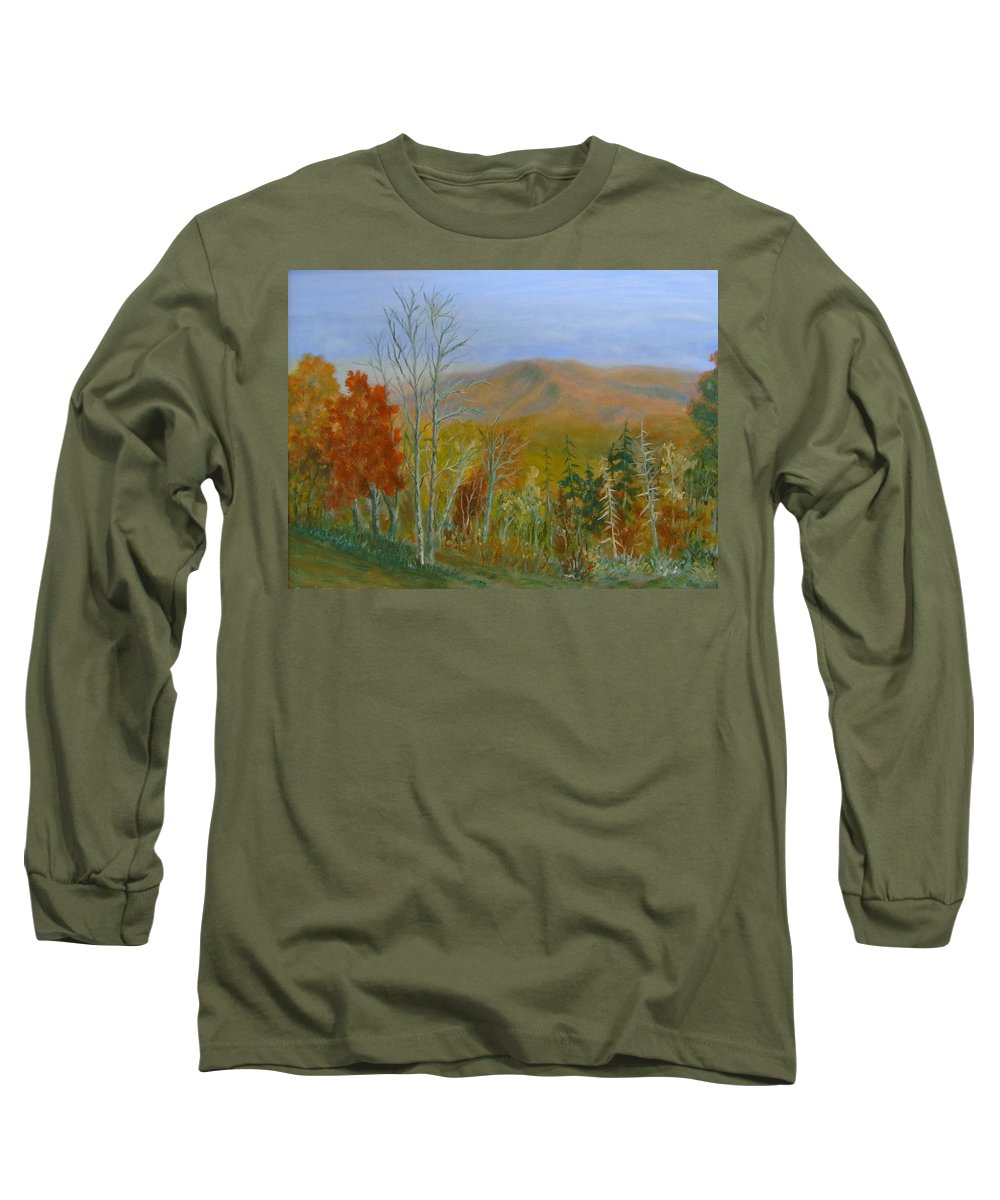 Mountains; Trees; Fall Colors Long Sleeve T-Shirt featuring the painting The Parkway View by Ben Kiger