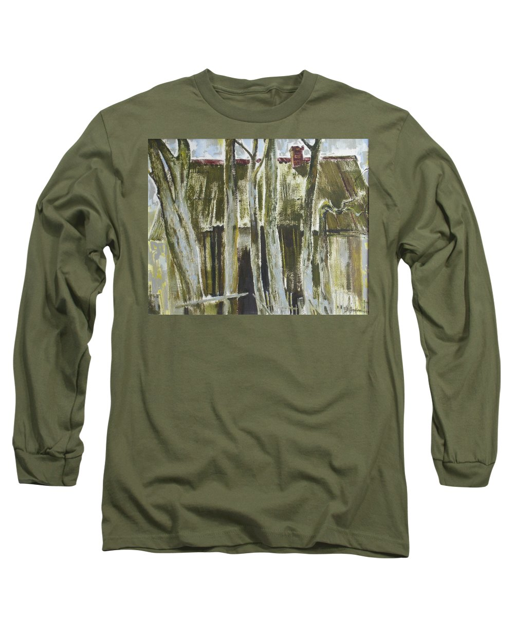 Oil Long Sleeve T-Shirt featuring the painting The Past Space by Sergey Ignatenko