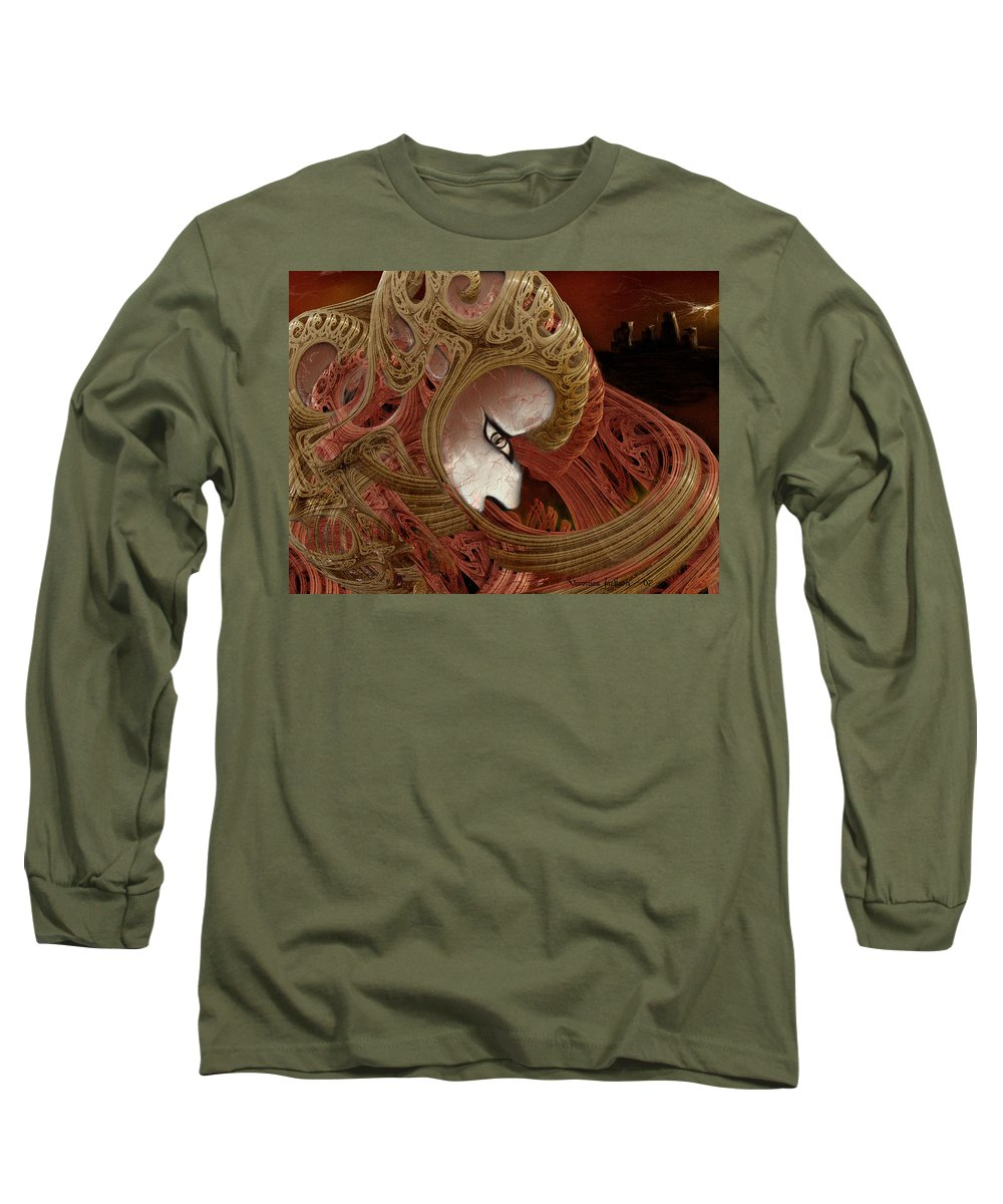 Warrior Darkness Loneliness Eyes Shield Long Sleeve T-Shirt featuring the digital art The Pilgrim by Veronica Jackson