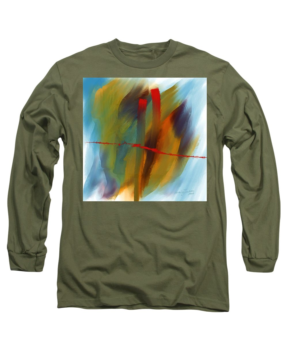 Red Abstract Lines Soft Moves Air Water Long Sleeve T-Shirt featuring the digital art The Red Line by Veronica Jackson