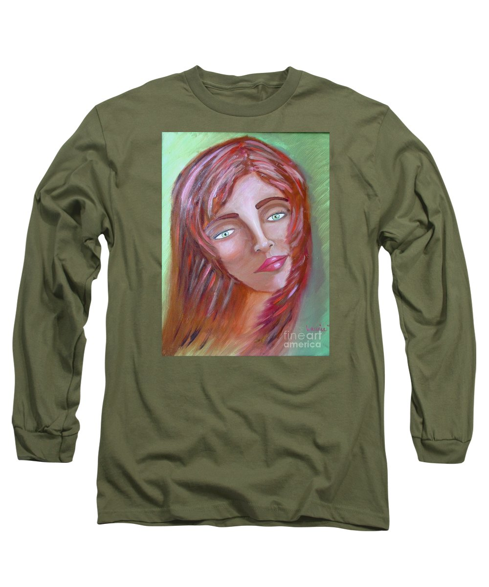 Redheads Long Sleeve T-Shirt featuring the painting The Redhead by Laurie Morgan