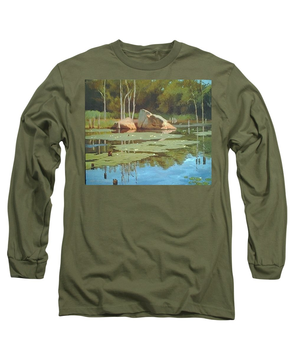 Landscape Long Sleeve T-Shirt featuring the painting The Rock by Dianne Panarelli Miller