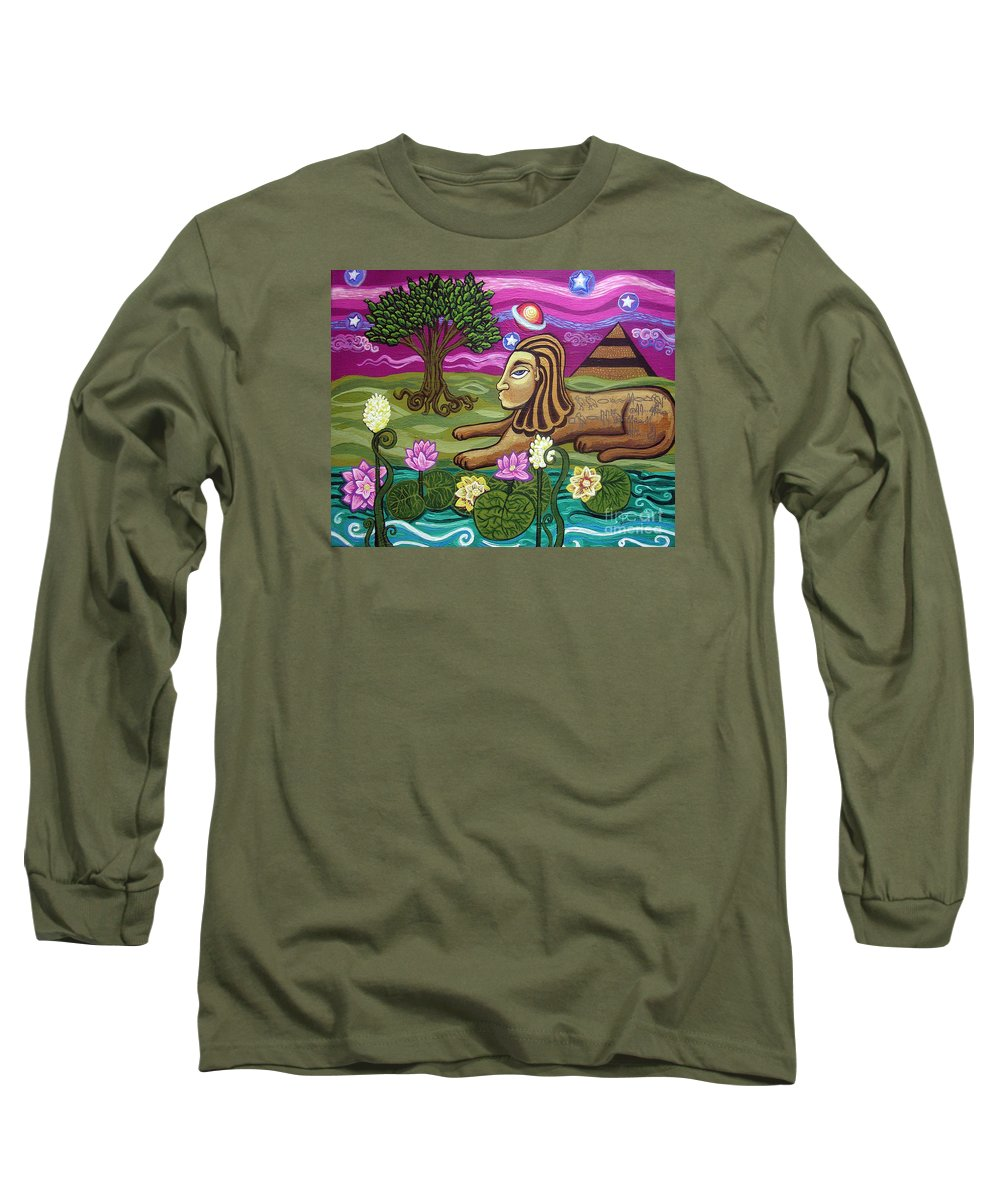 Egypt Long Sleeve T-Shirt featuring the painting The Sphinx by Genevieve Esson