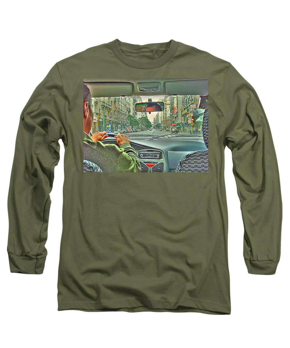 Taxi Long Sleeve T-Shirt featuring the photograph the Taxi Driver by Francisco Colon