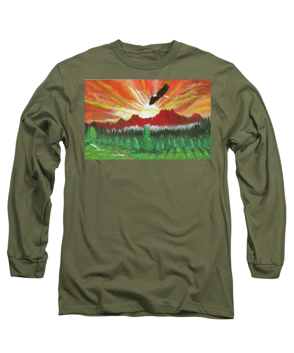 Acrylic Long Sleeve T-Shirt featuring the painting They That Wait Upon The Lord  Isa 40 31 by Laurie Kidd