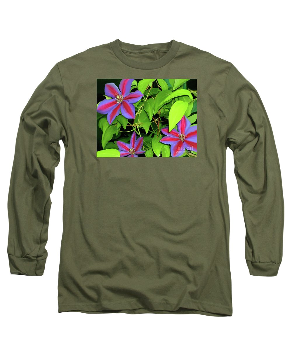 Mixed Media Art Long Sleeve T-Shirt featuring the painting Three Jacks by Patricia Griffin Brett