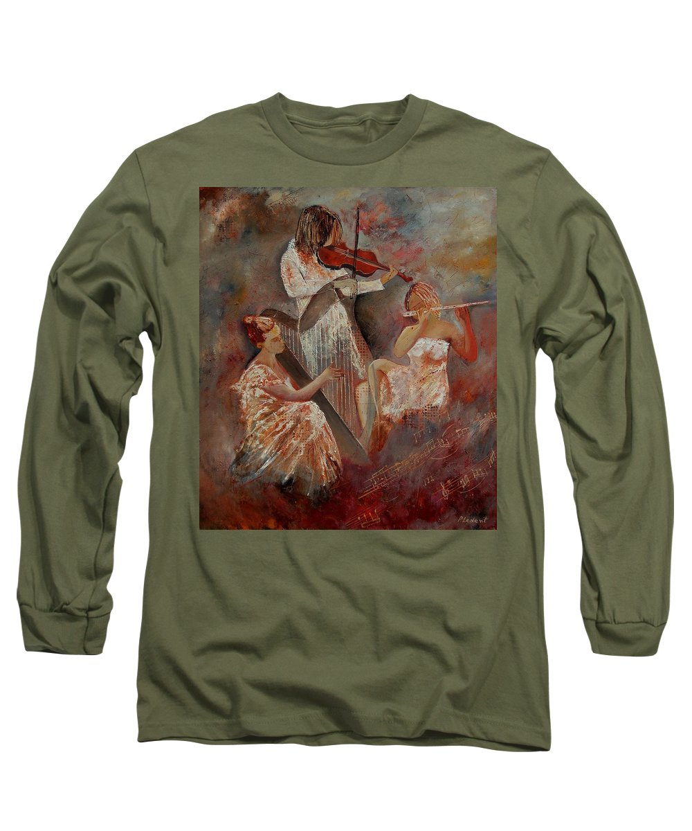 Music Long Sleeve T-Shirt featuring the painting Three Musicians by Pol Ledent