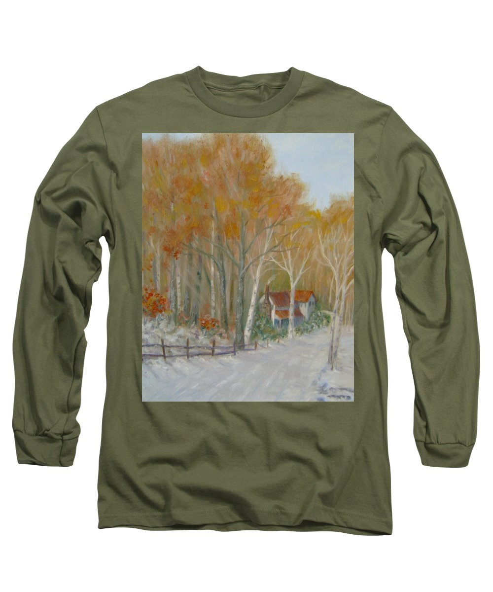 Country Road; House; Snow Long Sleeve T-Shirt featuring the painting To Grandma's House by Ben Kiger