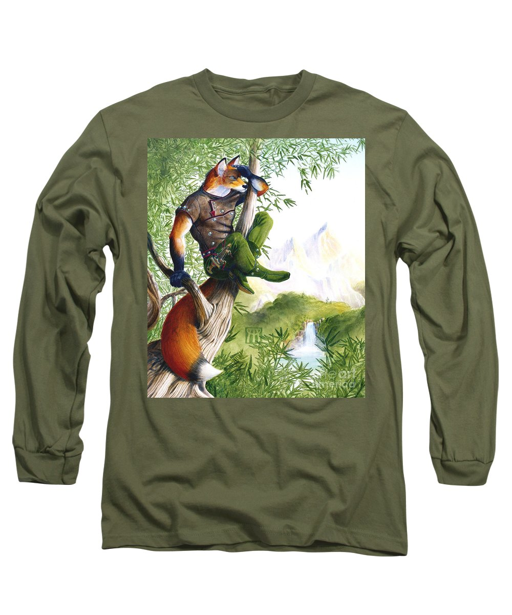 Fantasy Long Sleeve T-Shirt featuring the painting Trail Blazing Fox by Melissa A Benson