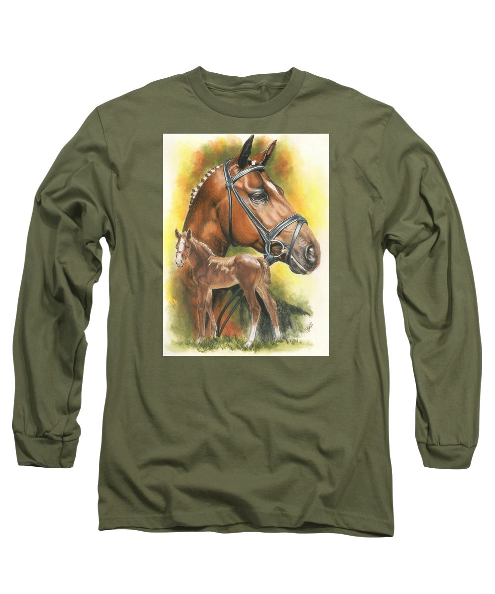 Equus Long Sleeve T-Shirt featuring the mixed media Trakehner by Barbara Keith