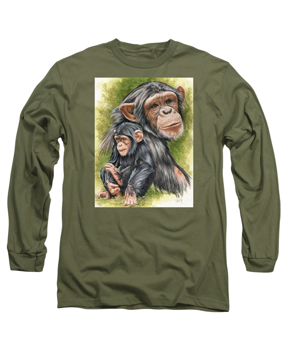 Chimpanzee Long Sleeve T-Shirt featuring the mixed media Treasure by Barbara Keith