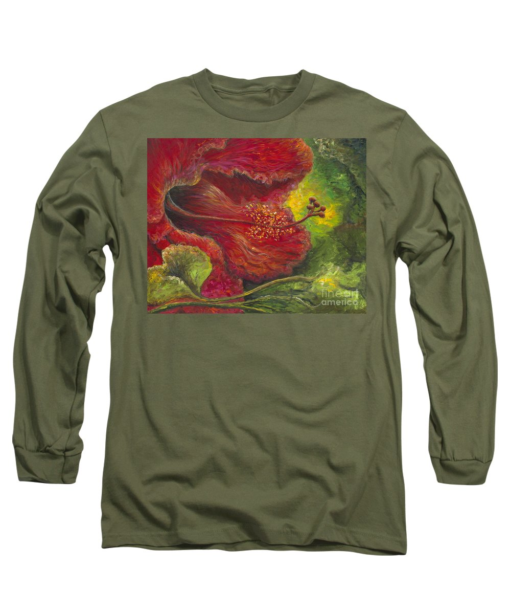Flowers Long Sleeve T-Shirt featuring the painting Tropical Hibiscus by Nadine Rippelmeyer