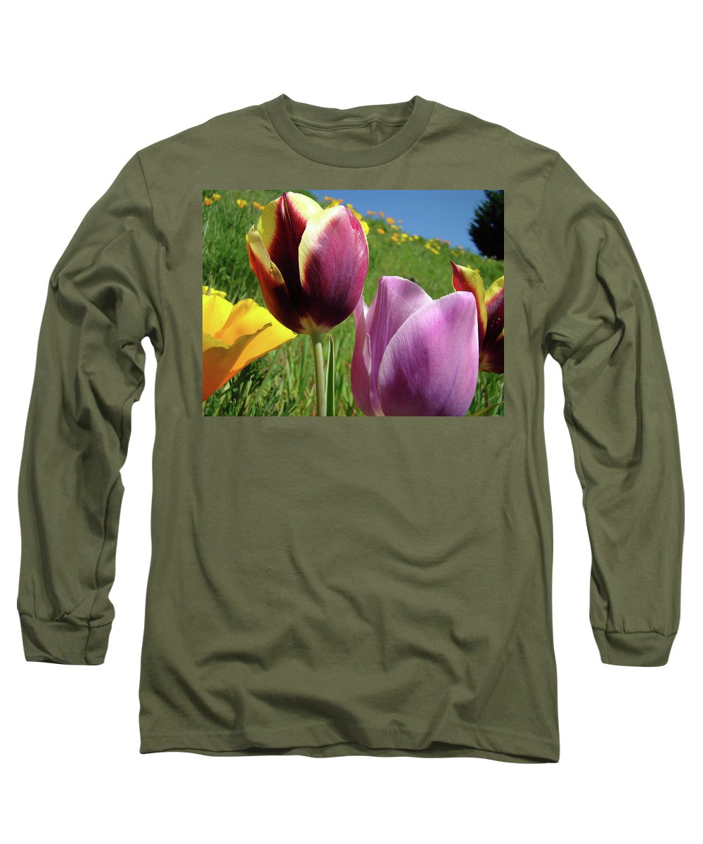 �tulips Artwork� Long Sleeve T-Shirt featuring the photograph Tulips Artwork Tulip Flowers Spring Meadow Nature Art Prints by Baslee Troutman