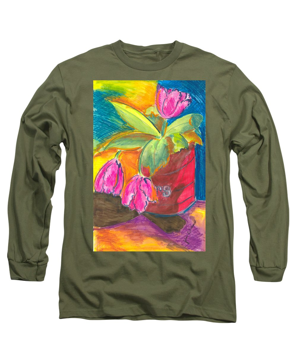 Flowers Long Sleeve T-Shirt featuring the painting Tulips In Can by Jean Blackmer