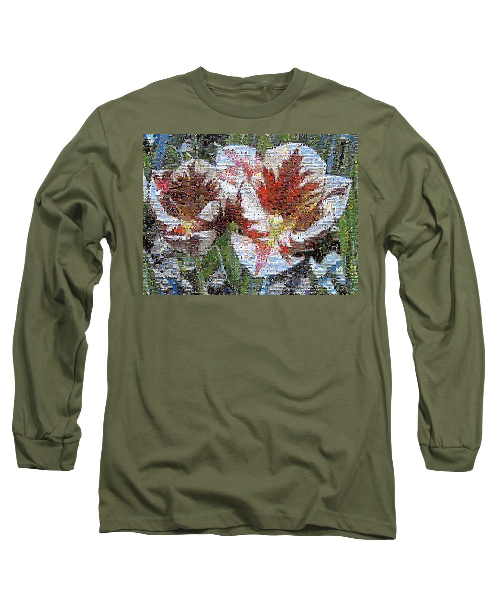 Lighthouse Long Sleeve T-Shirt featuring the photograph Tulips In Springtime Photomosaic by Michelle Calkins
