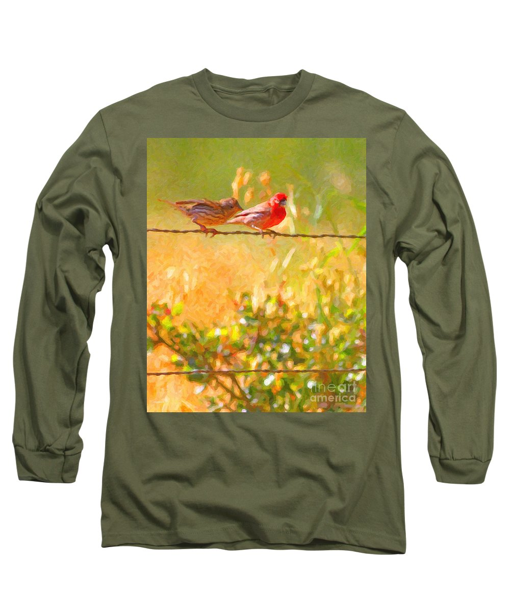 Bird Long Sleeve T-Shirt featuring the photograph Two Birds On A Wire by Wingsdomain Art and Photography