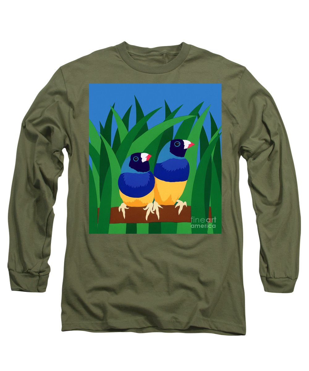 Nature Long Sleeve T-Shirt featuring the drawing Two Birds Sharing A Branch by Lucyna A M Green